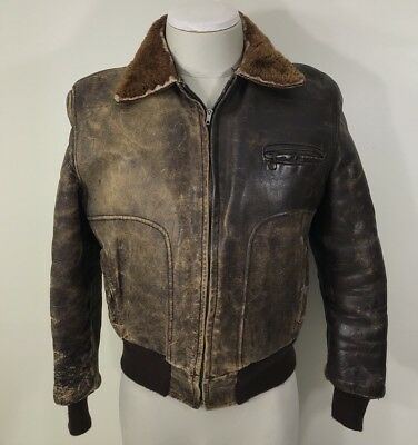 REPAIRS NEEDED VTG 40s 50s Front Quarter Horsehide Leather Bomber Jacket Brown