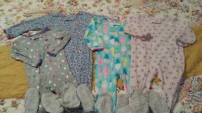 Carter's baby girl size 18 months long sleeve sleeper lot of 4 pjs