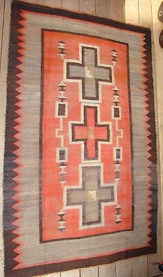 Antique Pictorial Navajo Rug with Hubble Crosses Storm Blanket Pattern Cabin Rug