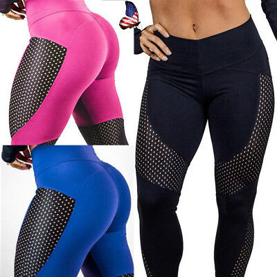 US Womens Fitness Sports Yoga Leggings High Waist Net Patchwork Running Pants M