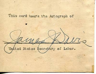 James J Davis Businessman / U.s. Secretary Of Labor Signed Card Autograph