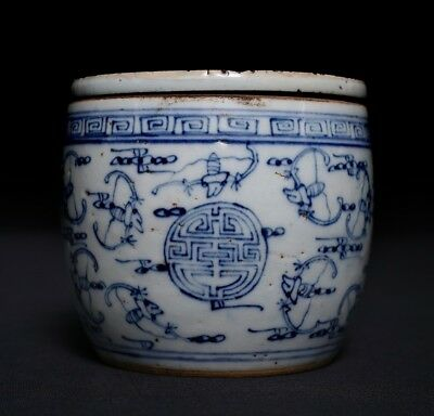 Unique Chinese blue and white Hand Painting Porcelain Pot Jar Mark C037