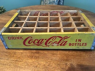 Vintage Coca-Cola Stamped Yellow Wood 24 Bottle Carrying Crate