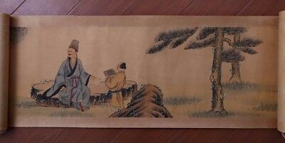 Long Rare Old Chinese Scroll Hand Painting Figures By CaiJia Marked PP664