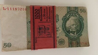 1933 Consecutive Lot of 16 Germany 50 MARK Reichsbanknote Bills Reichsmark UNC