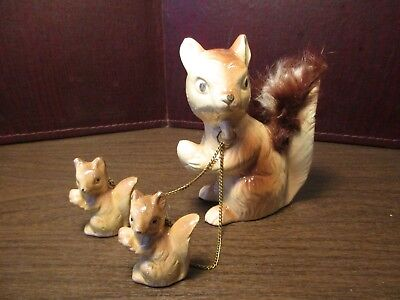 Vintage Ceramic Figurines - Squirrel - Mother & Babies - Chained - Japan - Nuts