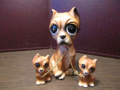 Vintage Ceramic Figurines - Boxer Momma & Puppies - Chained - Japan - Big Eyes