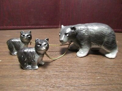 Vintage Ceramic Figurines - Chained Black Bear Trio - Mama Bear & Baby Bears