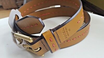 NWT Women's Fossil Belt Brown Leather w/ Coral Stitch Antique BRASS Buckle MED M