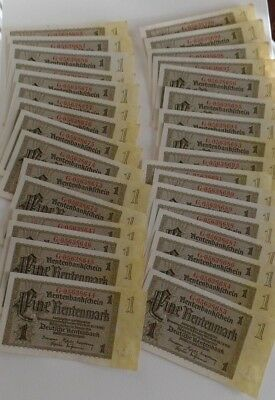 1937 Consecutive Lot of 34 Germany UNC 1 Rentenmark Banknotes Paper Money
