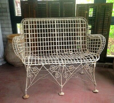 Rare French 1870s Double Wired Iron Wire Victorian Garden Patio Settee Bench