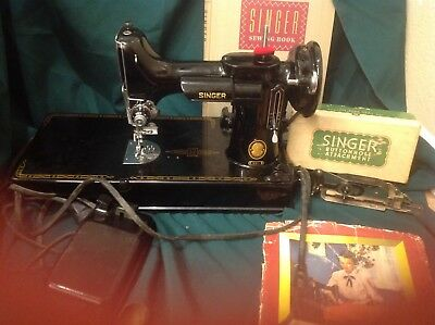 Vintage 1950 Singer Featherweight 221 Portable Sewing Machine
