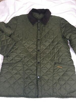 Barbour Men's D348 Liddesdale Quilted Casual Jacket Green Corduroy Collar SZ XL