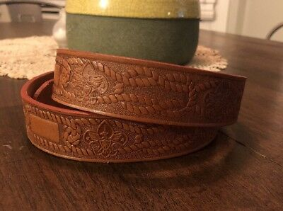 Vintage BSA Boy Scouts of America Hand Tooled Leather Belt Size 34 2909