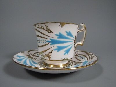 England Royal Chelsea Turquoise Blue Bird Gold Gild footed cup and saucer