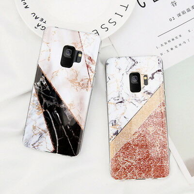 For Samsung Galaxy S9/S8 Plus S7 Marble Pattern Rubber Silicone Soft Case Cover