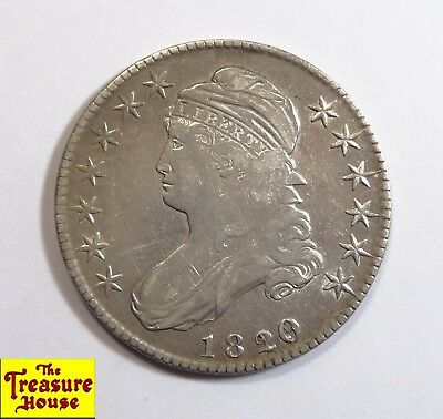 1820/19 Overdate Capped Bust Liberty Head 50C. Half Dollar Silver Coin Curl Base