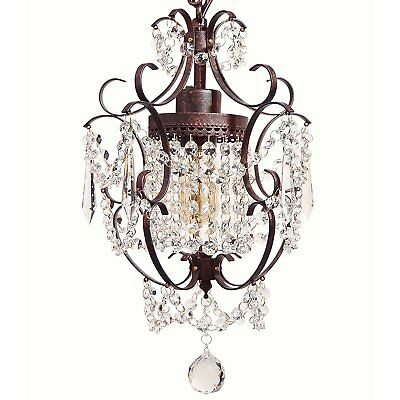 Starthi 1-Light Antique Mini Crystal Chandelier, Wrought Iron Ceiling Pendant