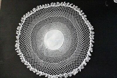 Vintage large white round crochet cloth/doily with damask centre.