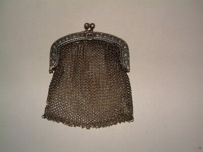 Antique Victorian 800 Silver Small Mesh Fancy Frame Chatelaine Purse