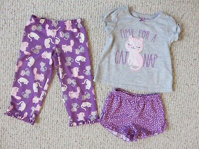 3 Piece Toddler Girls Pajamas Set Size 2T Cat Gray Purple Just One You Carter's
