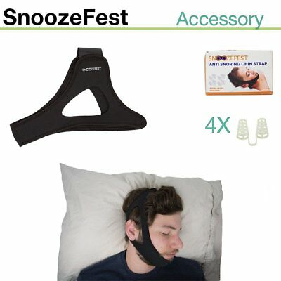 SNOOZEFEST Anti Snoring Chin Strap & Vent Kit - Adjustable Sleep Aid Device