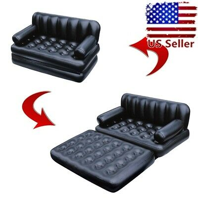Portable Sofa Blow Up Bed Inflatable Airbed Sleeper Double Chair Camp Mattress