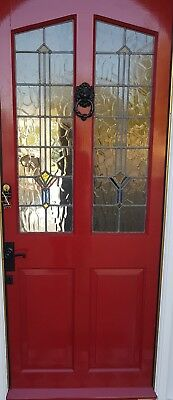wooden stained glass door