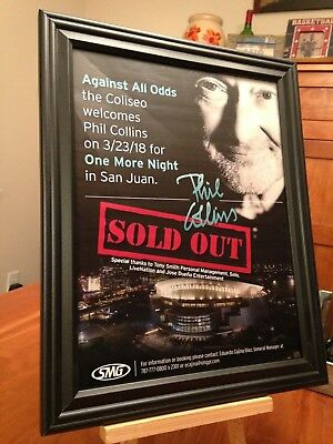 "BIG 10x13 FRAMED PHIL COLLINS ""COMEBACK TOUR 2018"" CONCERT LP ALBUM CD PROMO AD"