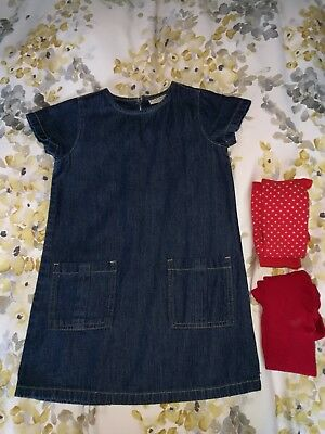 Next Denim tunic dress Age 5 and two pairs of tights age 5-6