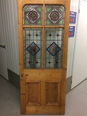 Reclaimed Edwardian Original Stained Glass Flora / Fauna Theme Front Door c1908