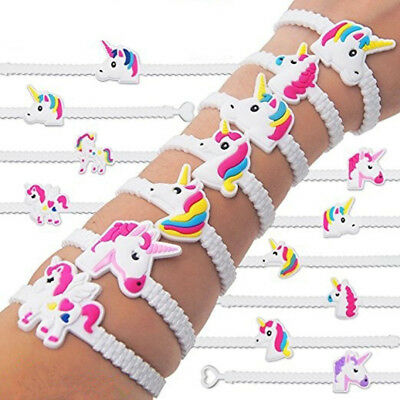 Kids Children Lovely Animal Unicorn Charm Bracelet Wristband Party Festival Gift