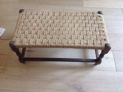 Woven Seat Small Bench Style Stool