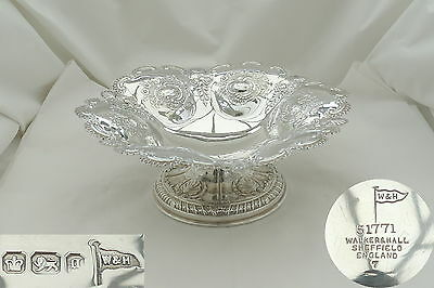 Rare Victorian Hm Sterling Silver Embossed Fruit Bowl 1899