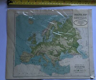 Physical  MAP of EUROPE, 1981, By JGB Bartholomew,  Macmillan & Co, London. 1891