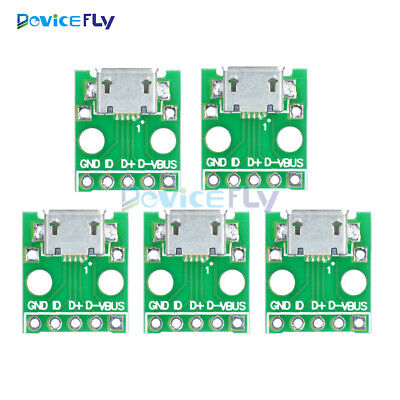10pcs MICRO Female USB to DIP Adapter Converter for 2.54mm PCB Board DIY Power