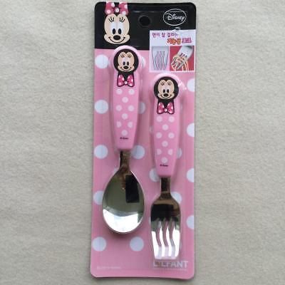 DISNEY MINNIE MOUSE Toddler Stainless Steel Spoon & Noodle Fork Set by LiLFANT