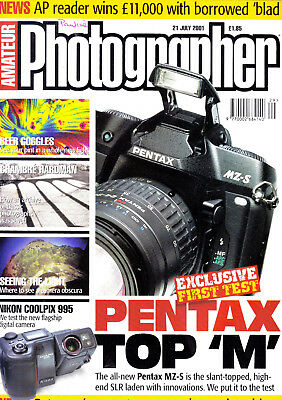 Amateur Photographer magazine with Pentax MZ-S  camera  tested  21st July   2001