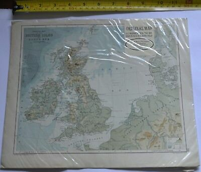 Physical map of British Isles and North Sea By JGB Bartholomew,Macmillan & Co