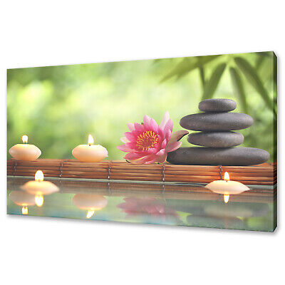 Lotus Flower Zen Stones Spa Candles Canvas Picture Print Wall Art Home Decor