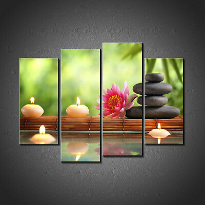 Zen Stones Lotus Flower Bamboo Canvas Print Picture Wall Art Home Spa Decor