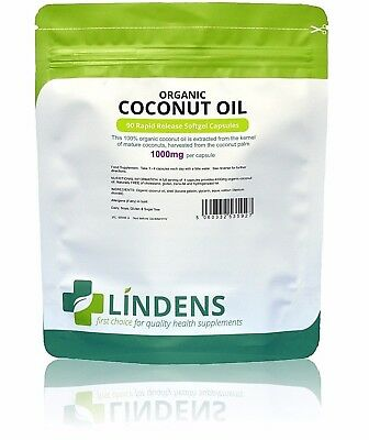 Coconut Oil 1000mg 100% Organic Capsules (90 pack) Lindens