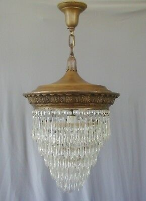Antique French Empire 1910 1920s Crystal Wedding Cake Chandelier Brass Victorian
