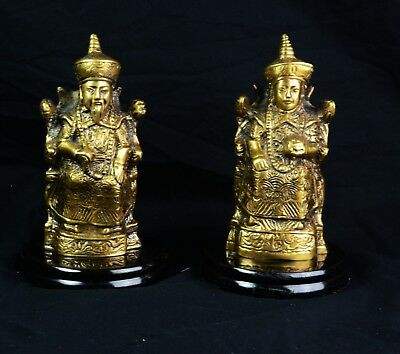 Vintage Chinese Asian Solid Brass  Royal Figurine Statue Emperor & Empress Pair