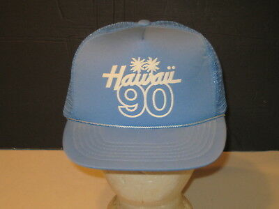 State of HAWAII Vintage 1990 Blue Tourist Vacation Mesh Trucker SNAPBACK HAT New