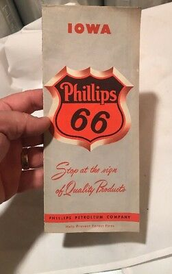 Vintage 1956 Phillips 66 Iowa Road and Highway Map Gas And Oil Advertising
