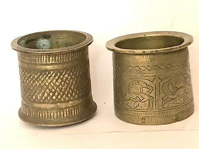 antique lot of two holy spritual panch patra brass made with engraved carvings