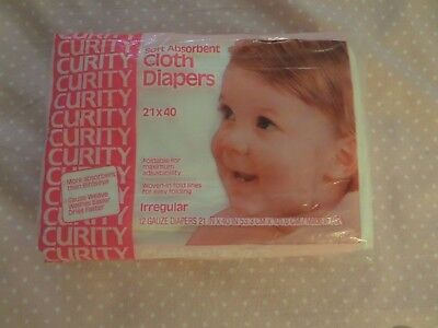 Vintage Curity  Diapers in unopened package.  12 diapers measure 21 by 40""