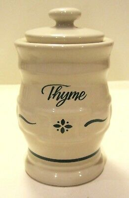 Retired Longaberger Heritage Green Pottery Spice Jar - Thyme - Made in USA