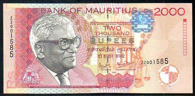 Mauritius - 2000 rupees 1999 - REPLACEMENT - Pick 55 - MWR RJ2 - UNC condition